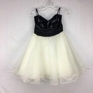 Speechless Black/White Sequin/Tulle Dress